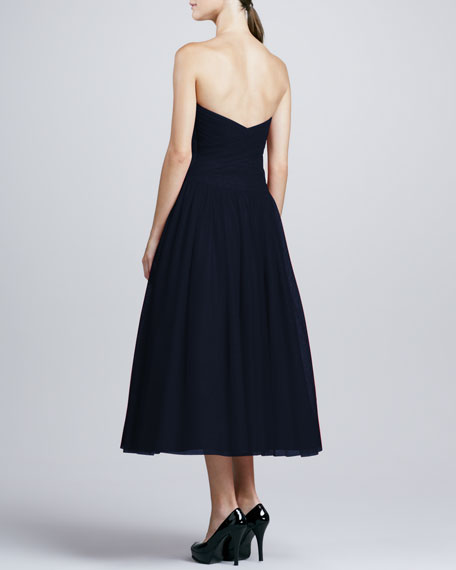 Strapless Draped-Bodice Tulle Cocktail Dress