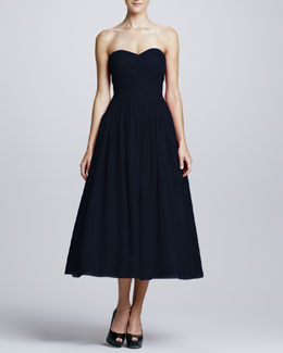 ML Monique Lhuillier Strapless Draped-Bodice Tulle Cocktail Dress