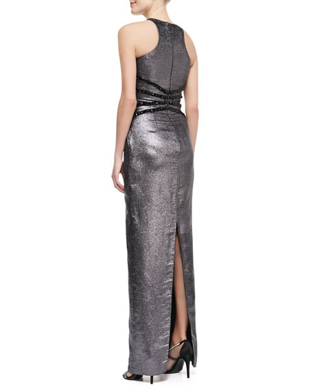 Liquid Lame Halter Gown with Studded Waist