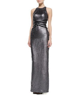 Pamella Roland Liquid Lame Halter Gown with Studded Waist