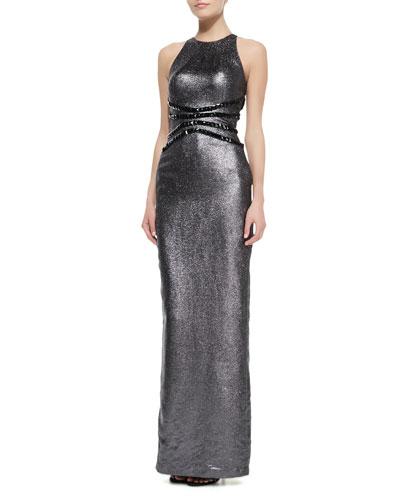 Pamella Roland Liquid Lame Halter Gown with Studded Waist