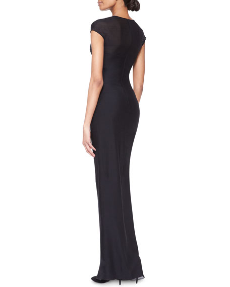 Cap-Sleeve Wraparound Gown
