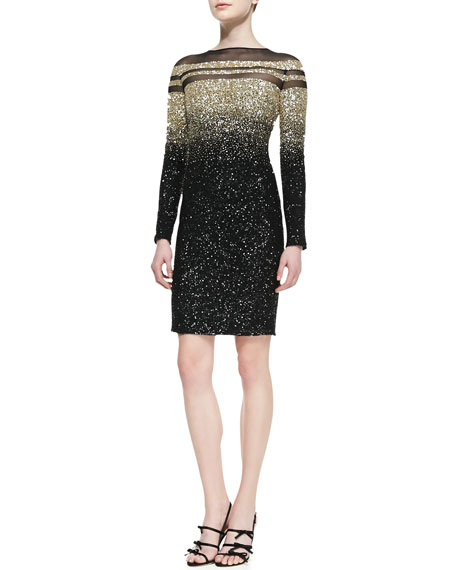 Long-Sleeve Ombre Sequined Cocktail Dress, Black/Gold