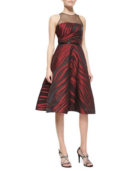 Sleeveless Animal-Print Midi Dress