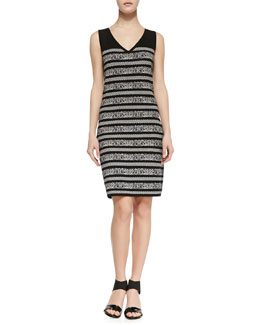 Carmen by Carmen Marc Valvo Sleeveless Birdseye-Print Sweater Dress, Black/White