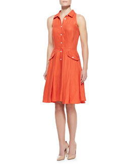 Elle Sasson Alohi Sleeveless Poplin Shirtdress