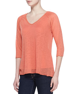 Miraclebody Veronica Burnout V-Neck Top