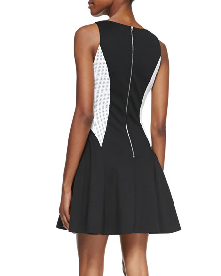Sleeveless Scuba Colorblock Dress, Black/White