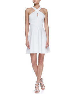 Ali Ro Sleeveless Crisscross Halter Dress