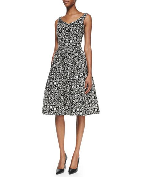Sleeveless Jacquard Party Dress