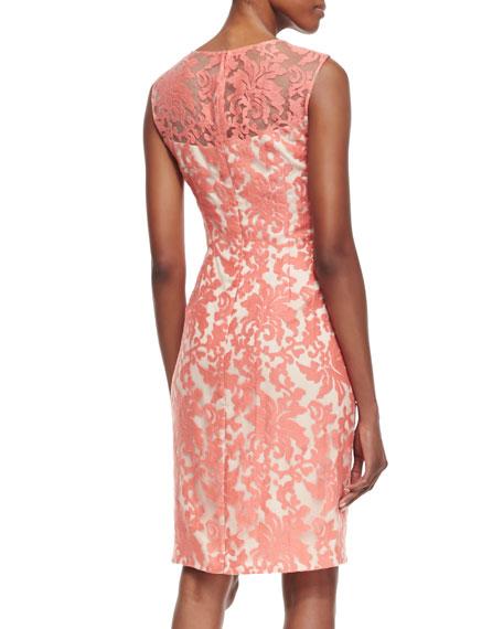 Sleeveless Floral Lace Sheath Dress