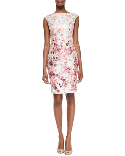 Kay Unger New York Floral Printed Metallic Sheath Dress