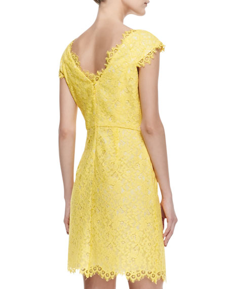 Cecile Cap-Sleeve Lace Dress