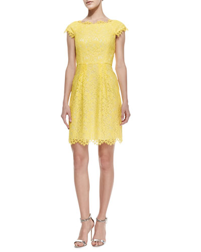 Shoshanna Cecile Cap-Sleeve Lace Dress