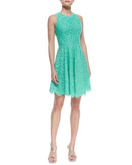 Shoshanna Sleeveless Full-Skirt Lace Dress