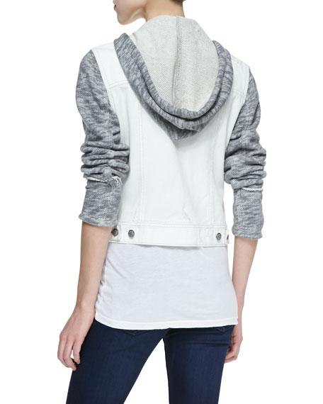 Knit Hooded Denim Jacket