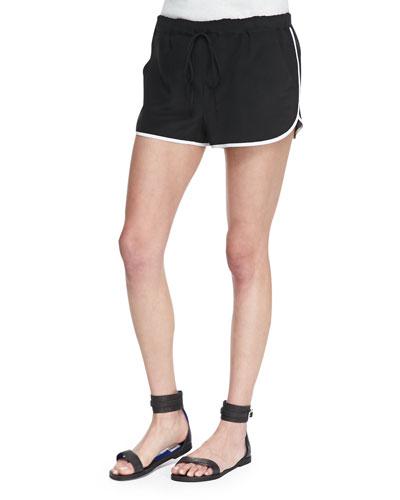 Cusp by Neiman Marcus Trimmed Retro Silk Running Shorts, Onyx/White