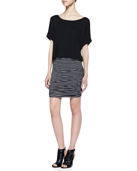 Striped Ruched Knit Skirt