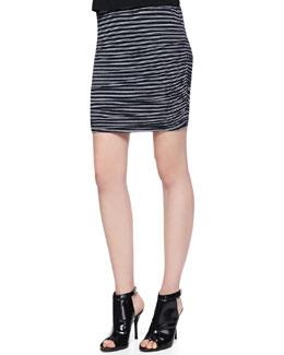 Splendid Striped Ruched Knit Skirt