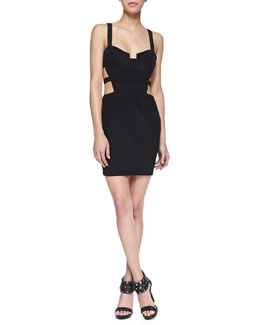 Naven Cutout Bustier Mini Dress, Black
