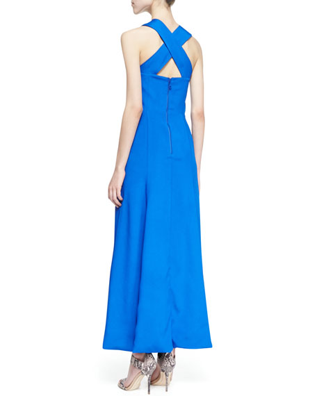 Vegas Cross-Front Maxi Gown, Blue