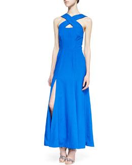 Naven Vegas Cross-Front Maxi Gown, Blue