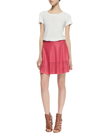 Geometric Cutout Faux-Leather Skirt, Raspberry