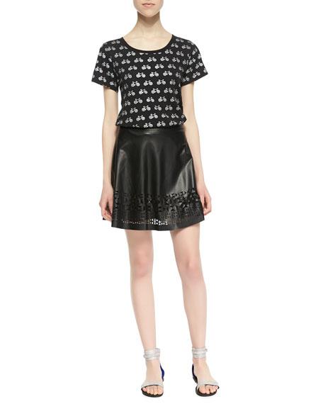 Geometric Cutout Faux-Leather Skirt, Black