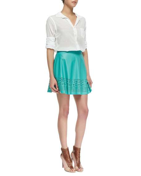 Geometric Cutout Faux-Leather Skirt, Mint