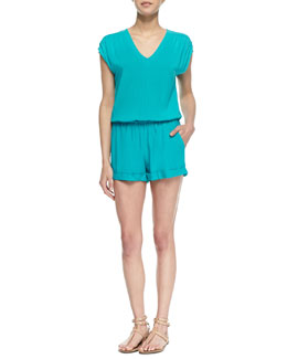 Splendid Capri Cap-Sleeve Pleated Jumpsuit, Blue