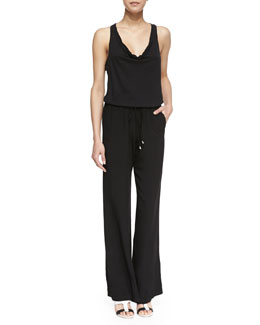 Splendid Cowl-Neck Drawstring Jersey Jumpsuit, Black