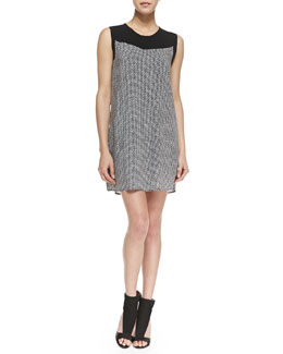Splendid Sleeveless Basketweave Print Shift Dress, Black/White