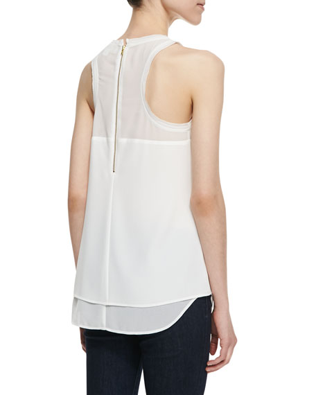 Amanda Textured Crepe Layered Top, White