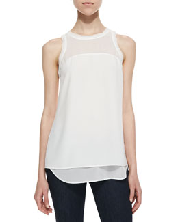 Cooper & Ella Amanda Textured Crepe Layered Top, White
