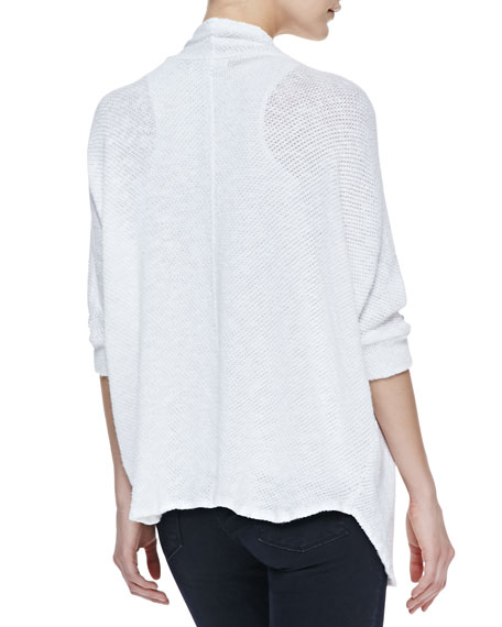 Open-Front Crochet Knit Cardigan, White