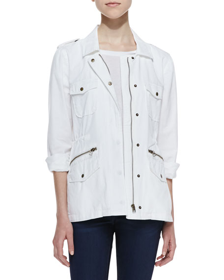 Long-Sleeve Army Jacket, White