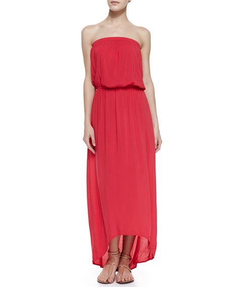 Power Strapless Arched Voile Maxi Dress, Red