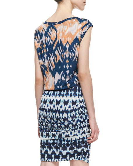 Summer Ikat-Print Ruched Dress, Blue/Orange