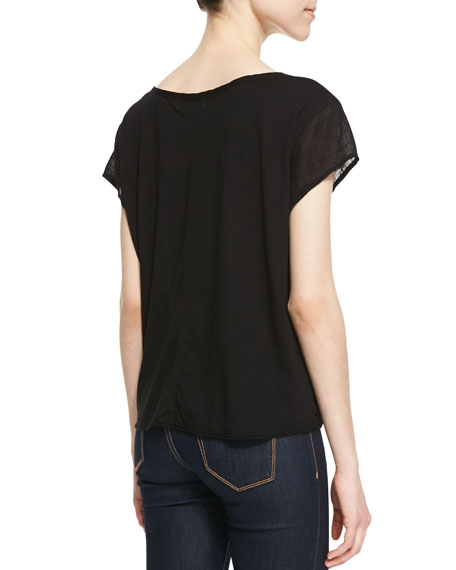 Sheer Jersey Contrast Top, Black