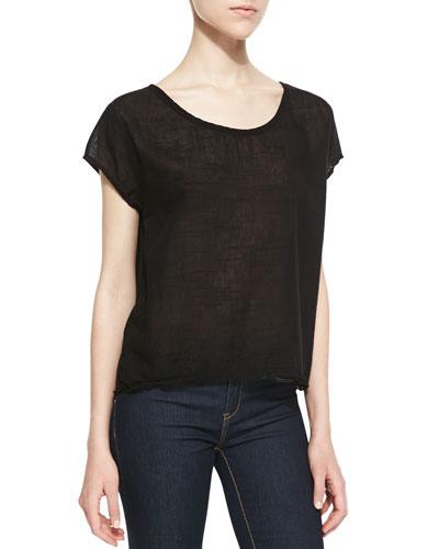 Lily Aldridge for Velvet Sheer Jersey Contrast Top, Black