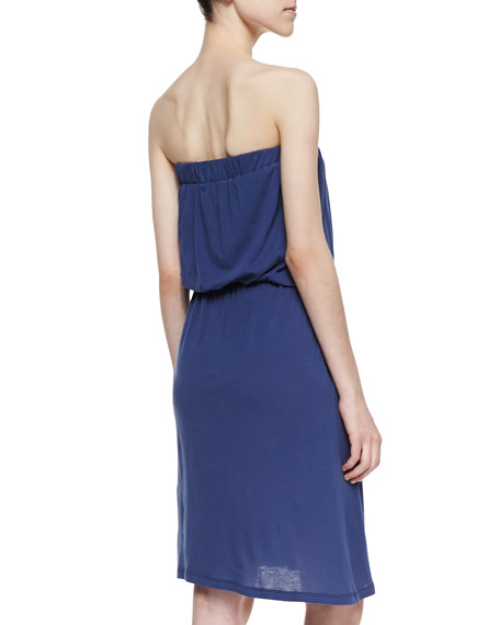 Strapless Draped Jersey Dress, Bluestone