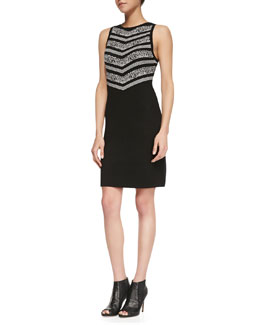 Carmen by Carmen Marc Valvo Halter-Style Birsdeye-Top Sweater Dress, Black/White