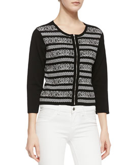 Carmen by Carmen Marc Valvo 3/4-Sleeve Zip-Front Cardigan, Black/White