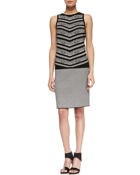 Fine-Checkered Pencil Skirt, Black/White