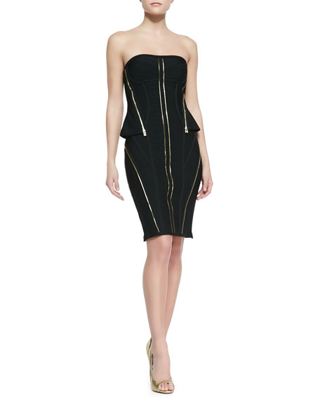 Xandra Bandage Knit Strapless Zipper Dress