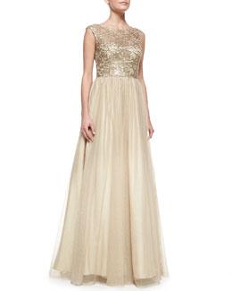 Aidan Mattox Cap-Sleeve Lace Bodice Gown, Gold