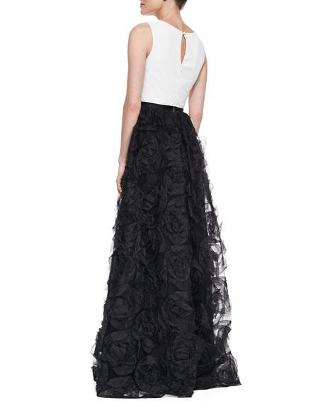 Sleeveless Combo Rosette Ball Gown