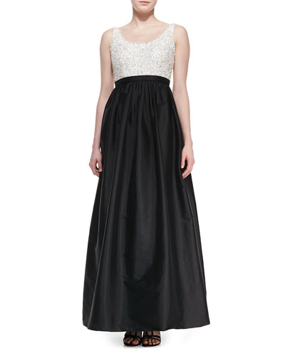 Aidan Mattox Sleeveless Sequined-Bodice Ball Gown