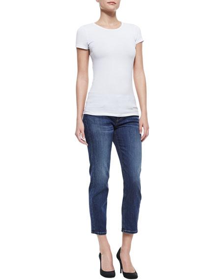 Aubree Slim Straight Crop Jeans, Medium Dark Blue