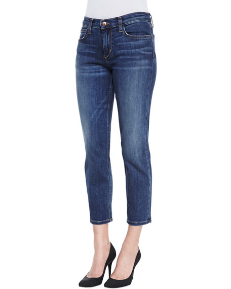 Aubree Slim Straight Crop Jeans, Medium Dark Blue